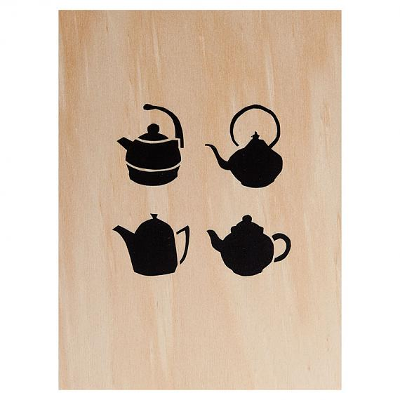 Teapots Print on Ply Black by me and amber