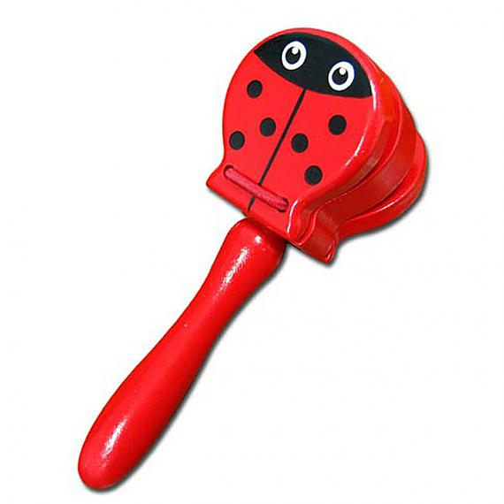 Wooden Ladybird Castanet With Handle designed in Australia by Fun Factory