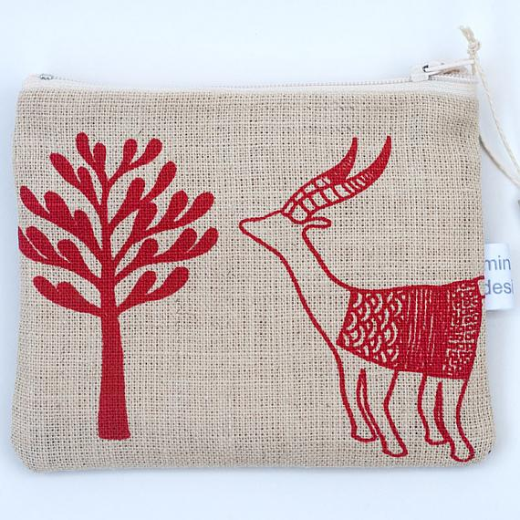 Antelopes Large Leather Purse - Red