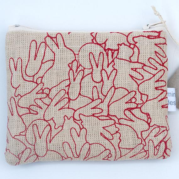 Rabbit Pile Large Leather Purse - Red by Mingus