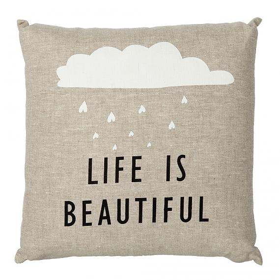 Life is Beautiful Cushion - Natural, handmade in Australia by me and amber