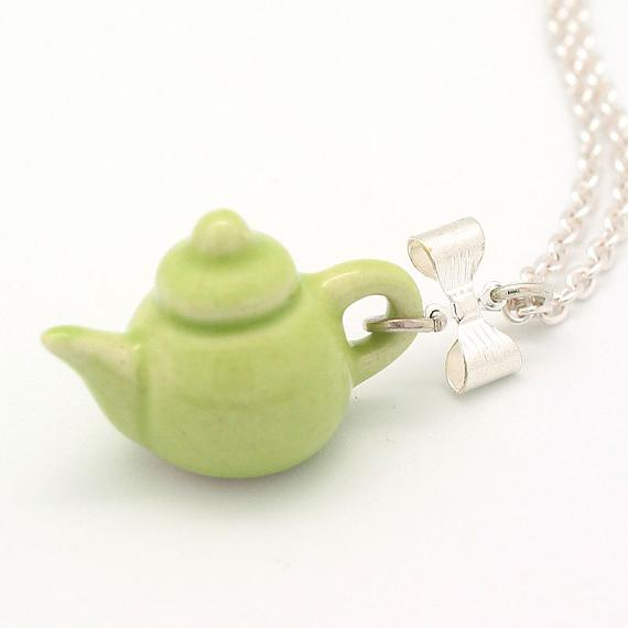 Lime Teapot on Silver Chain by Meow Girl