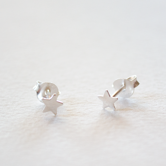 Childrens Stud Earrings - Silver Little Stars - designed in Melbourne by LoveHate