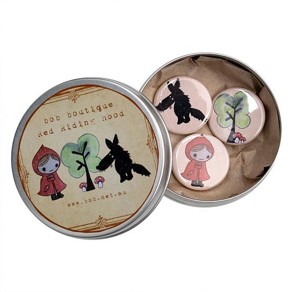 Little Red Badges in Tin by Bob Boutique