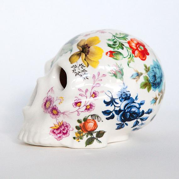 Floral Skull Medium by Iggy and Lou Lou