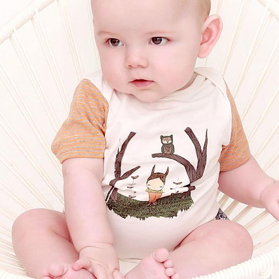 Mike in the Woods Romper designed in Australia by and the little dog lauged and illustrated by Simone Downey (Nomuu)