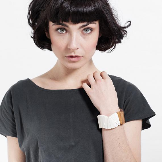 Wooden Fan Bangle - White | Natural, designed in Melbourne by mooku