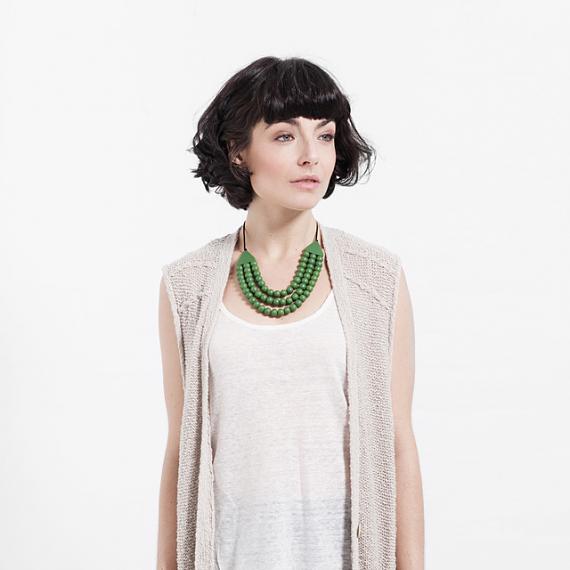 Matilda Necklace - Emerald Green Resin - handmade in Melbourne by mooku