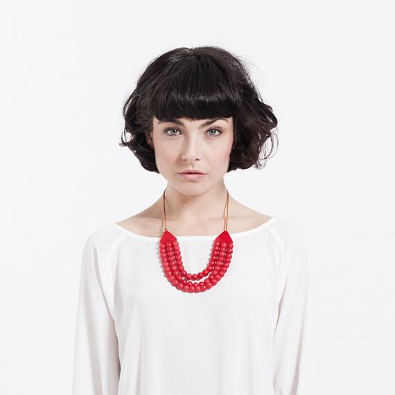 Matilda Necklace - Red Resin - handmade in Melbourne by mooku