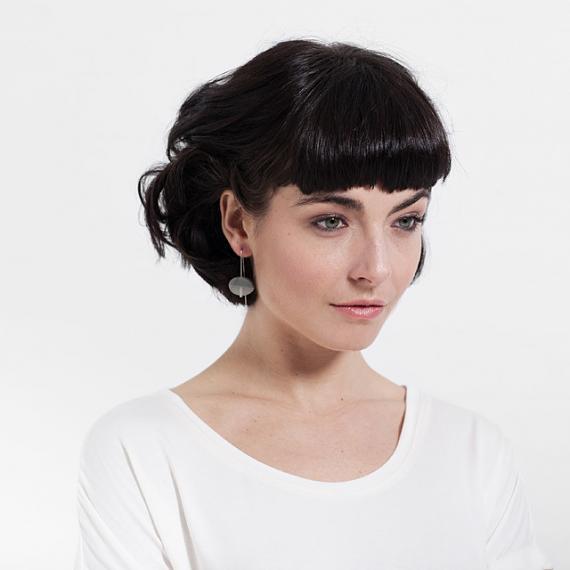 Oval Earrings - Resin | Silver - Grey handmade in Melbourne by mooku