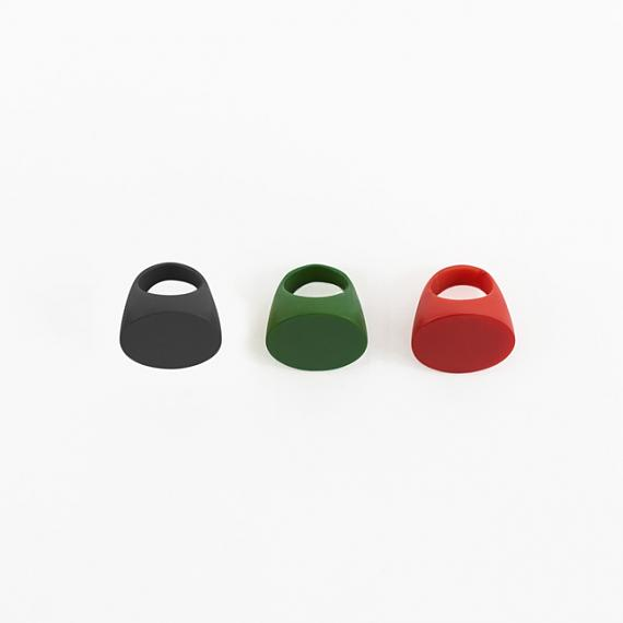 Resin Round Ring - Emerald Green, Black and Bright Red designed and made in Australia by mooku