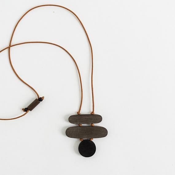 Stack Pendant - Greywood | Black handmade in Melbourne by mooku