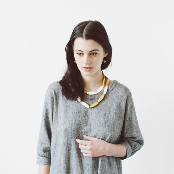 Sea Tangle Necklace - Mustard | White, designed in Melbourne by mooku