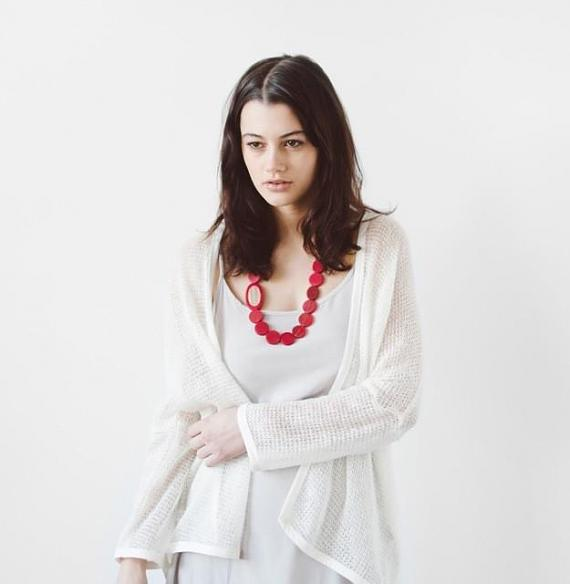 Resin Pebble Necklace - Red | Bamboo designed in Melbourne by mooku