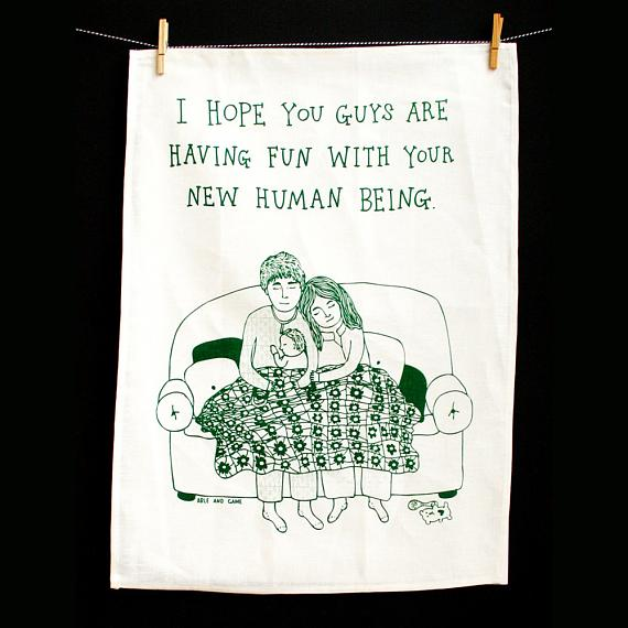 Tea Towel - New Human Being - handmade in Melbourne by Able & Game