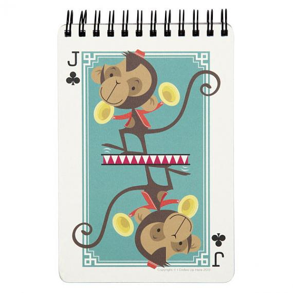 Jack of Clubs Monkey Notebook by I Ended Up Here