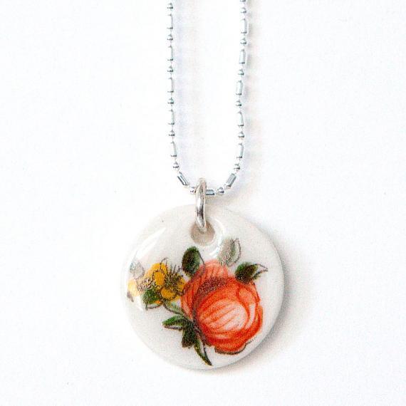 Orange Peony Necklace by Iggy and Lou Lou