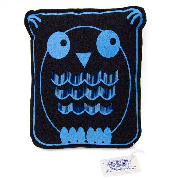Owl Felt Cushion Blue by Bob Boutique