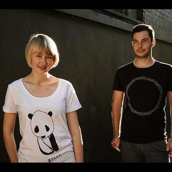 White Hello Panda Womens and Black Circle Mens T-shirts designed and made in Australia by me and amber
