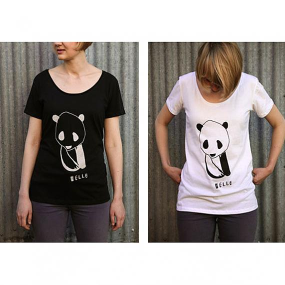 Black and White Hello Panda Womens T-shirts designed and made in Australia by me and amber
