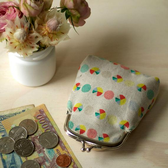 Linen Coin Purse Pie Print by Love Hate