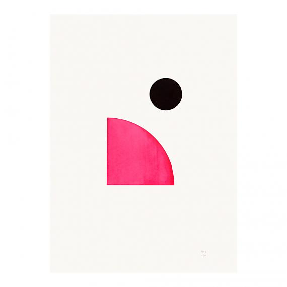 Pink Circle Neon Geometric Limited Edition Screen Print on Paper handmade in Australia by me and amber