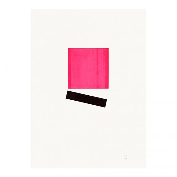 Pink Square Neon Geometric Limited Edition Screen Print on Paper handmade in Australia by me and amber