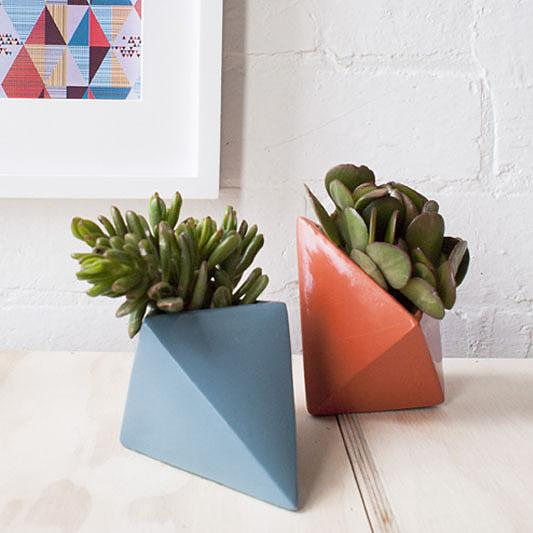 Ceramic Diamond Planters in Cut Glass (blue) and Karrot (orange) by Love Hate