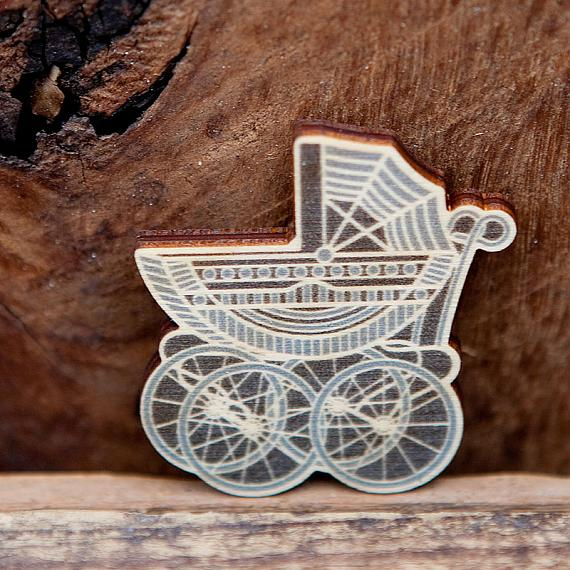 Vintage Pram Wooden Brooch - Blues by Polli
