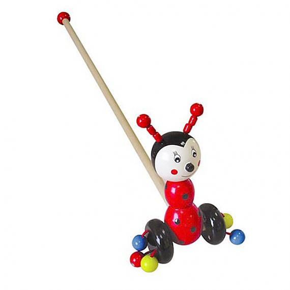 Wooden Ladybird Push Along Toy designed in Australia by Fun Factory
