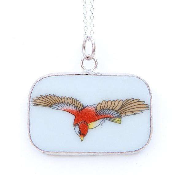 Red Bird Swooping Rectangular Vintage Crockery Necklace by Bird of Play
