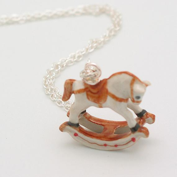 Rocking Horse White with Brown Pendant on Silver Chain by Meow Girl