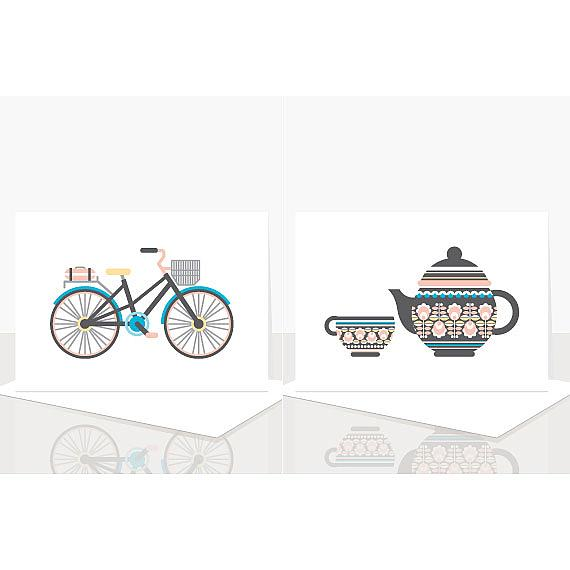 Bicycle and Teapot Cards from Scandi Obsession Assorted Greeting Card Pack designed and handmade in Australia by Ella Leach Designs