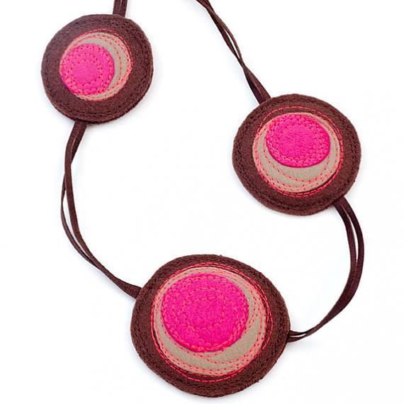 Small Shinzo Leather & Felt Necklace - brown, beige & pink by Mainichi