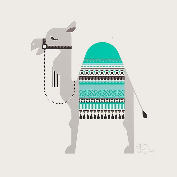 Sleepy Giants - Camel Limited Edition Screen Print designed and handmade by Ella Leach Designs