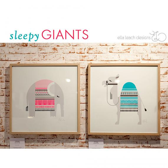Sleepy Giants Limited Edition Screen Prints designed and handmade by Ella Leach Designs