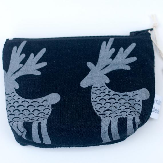 Deer Herd Standing Purse - Grey on Black by Mingus