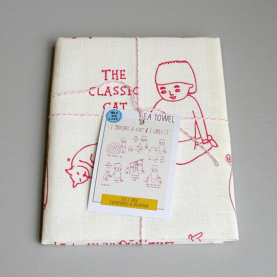 Tea Towel - Touched a Cat - handmade in Melbourne by Able & Game