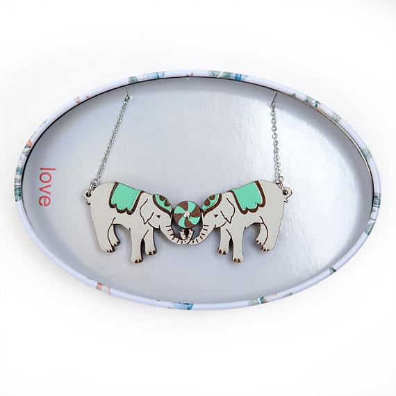 Twin Elephants Necklace Mint by love hate