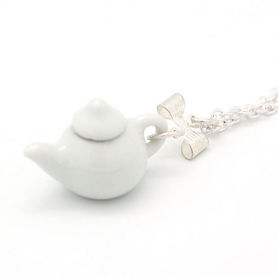 White Teapot Pendant on Silver Chain by Meow Girl