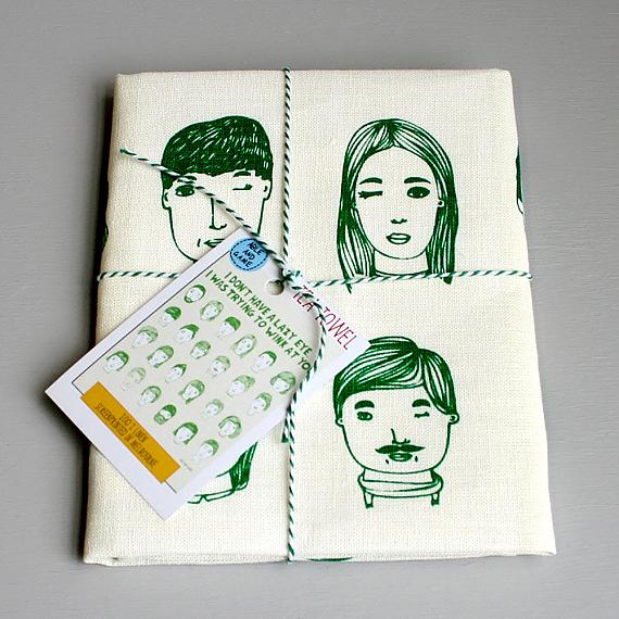 Tea Towel - Trying to Wink - handmade in Melbourne by Able & Game