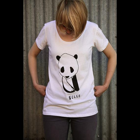 White Hello Panda Womens T-shirt made in Australia by me and amber