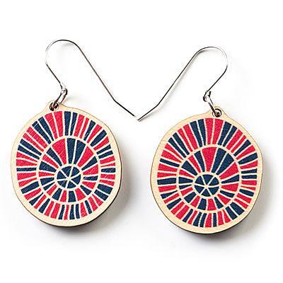 Wooden Zulu Earrings - Pink & Blue (Medium) by Polli