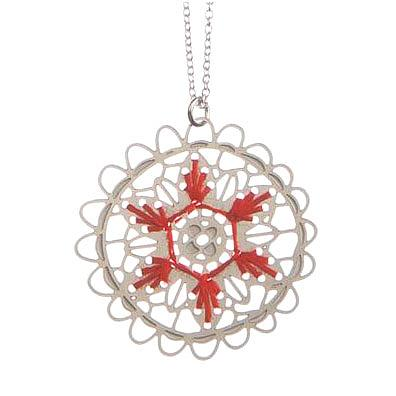 Woven Doily Pendant Red by Polli