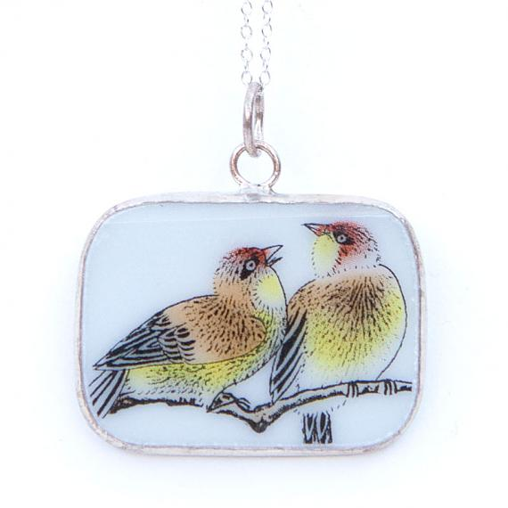 Speckled Birds on Branch Rectangular Vintage Crockery Necklace by Bird of Play